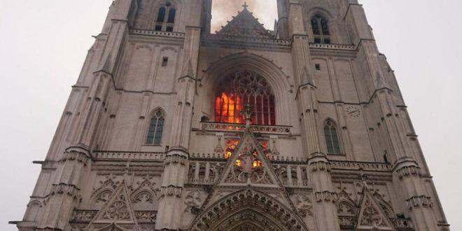 France: Fire in Nantes Cathedral